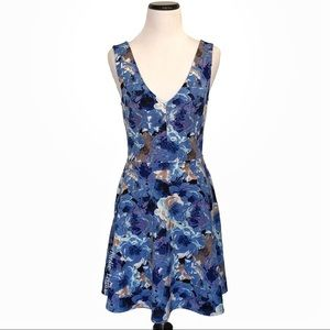 Forever 21 Sleeveless Blue Floral Skater Dress